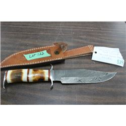 "Damascus Bowie Knife, 7 1/4"" Blade, Pommel & Guard, Stained Camel Bone Handle & Sheath"