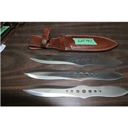 "3 - 11"" Ash 440 Steel Throwing Knives w/Sheath"