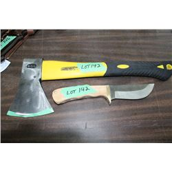 "Duramax Pro 600 Hatchet (very sharp) & a Hunting Knife w/ 4 1/4"" Blade - No Sheath"