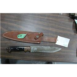 "Damascus Bowie Knife w/8"" Blade, Buffalo Horn/Walnut Handle & a Sheath"