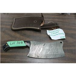 """Damascus Clever w/6"""" Blade, Micarta Handle and Sheath"""