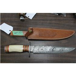 "Damascus Bowie Knife w/10"" Blade, Camel Bone Handle, Damascus Guard & Pommel and Sheath"