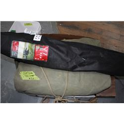 Canvas Army Tent (Unknown Size) & a Folding Chair