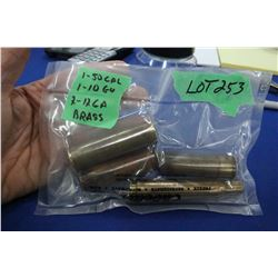 1 - 50 cal. Brass; 1 - 10 ga. Brass & 2 - 12 ga. Brass