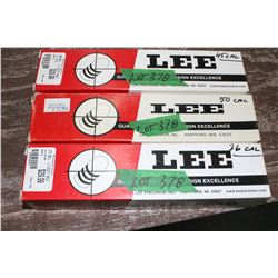 3 Lee Round Ball Bullet Molds - 36, 45, 50 cal.