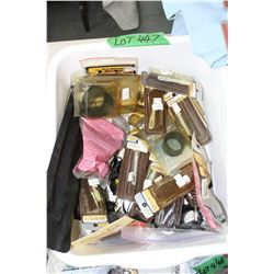 Tub of Firearm's Cleaning Kit pcs.:  Rods, Patch Holders, Scope Covers, Brass Brushes & H.S. Scent W