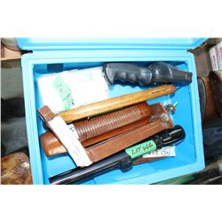 Blue Plastic Carry Box w/ 2 Shotgun Fore-ends; 2 - 22 Scopes; Sling Shot; Small Screwdrivers; a Camp