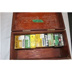 Wooden Storage Box w/5 Boxes of 20 ga. Shotgun Shells - Both 2 3/4 and 3""