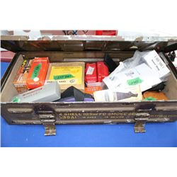 A 2-Shell, 105mm Metal Ammo Box w/7 Recoil Pads, Box of Shotgun Wads, Pistol Cleaning Rods, 2 Casegu