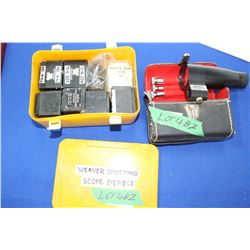 Yellow Box w/Weaver Scope Eye Pieces & a Bushnell Bore Sighter