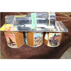 3 Remington Collector Tins & a 3 Battery Flashlight