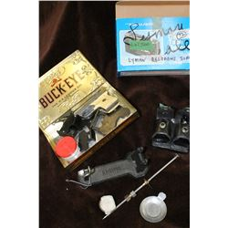 Lyman Reloading Scale; Collector Tin; 2 Speed Loaders (in a Leather Sheath); Starter Pistol & 4 Silh