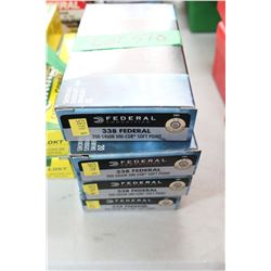 4 Boxes of Factory 338 Federal, Live Rnds, 200 gr., Unicor, Soft Point