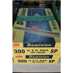 2 Boxes of Factory Dominion, 300 H & H Mag, Live Rnds, 180 gr, Soft Point