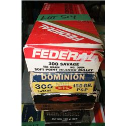 7 Boxes of Mixed Make, 300 Savage, Live Rnds, 150 gr., Soft Point
