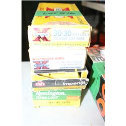 4 Boxes of Mixed Factory 30-30 Winchester Live Rnds, 170 gr., Soft Point & Silver Tip Express