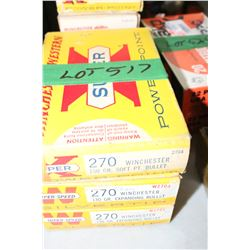 3 Boxes of Factory 270 Winchester Live Rnds, 130 gr., Expanding Bullet & 150 gr., Soft Point