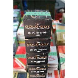 4 Boxes of Factory Gold Dot 357 Magnum Live Rnds, 150 gr., HP