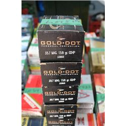 4 Boxes of Factory Gold Dot 357 Magnum Live Rnds, 150 gr., HP