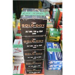 5 Boxes of Factory Gold Dot 357 Magnum Live Rnds, 150 gr., HP
