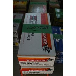 2 Boxes of Factory Winchester 300 Savage Live Rnds, 150 gr., Power Point, Soft Point