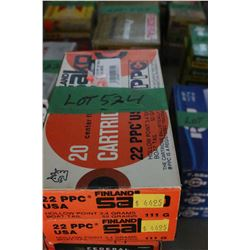 2 Boxes of Factory Sako 22 PPC Live Rnds, 52 gr., Boat Tail