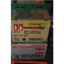 1 Box of Factory Winchester 454 Casull Live Rnds, 250 gr., Jacketed HP & 1 Box of Factory Hornady 45