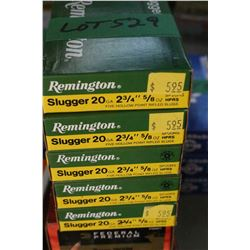 5 Boxes of Factory Remington 20 ga. - 2 3/4 Slugger Live Rnds
