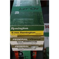 3 Boxes of Factory, 6mm Remington, 80 gr., & Federal Premium, 100 gr.