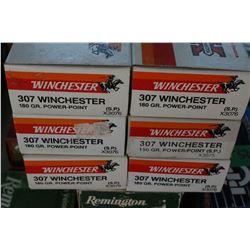 6 Boxes of Factory 307 Winchester, Winchester 180 gr., Power Point