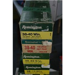 4 Boxes of Factory 38-40 Winchester, Remington, 180 gr., Soft Point.  For use in rifles and revolver