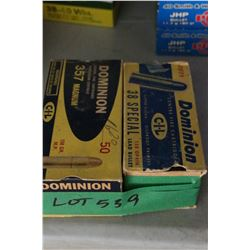 Box of Factory 357 Magnum Dominion, 158 gr., Metal Point & Box of 38 Special Dominion, 158 gr., Lead