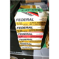 "6 Boxes of 5 - Factory 20 ga., 3"", Magnum Federal #2 Buckshot"