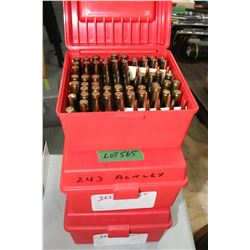 300 Rnds of Reloaded 243 Ackley w/Load Information in the 3 Red Caseguard Carrying Cases