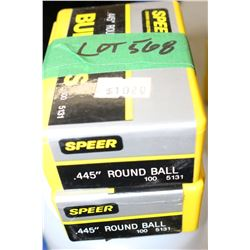 "2 Boxes of 100 - .445"" Speer Round Ball"
