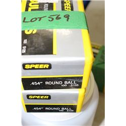 "2 Boxes of 100 - .454"" Speer Round Ball"