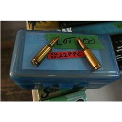 Blue Caseguard Box w/50 Rnds of Reloaded 22 PPC, Sako w/Load Information on the Inside of the Case
