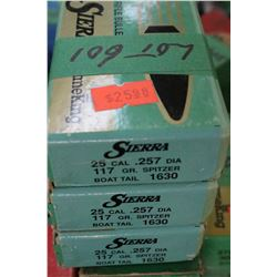 3 Boxes of 100 - 25 cal., .257 Diameter, Sierra, 117 gr., Spitzer Boat Tail - Unopened