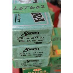 3 Boxes of 100 - 270 cal., .277 Diameter Sierra, 130 gr., Spitzer - Unopened