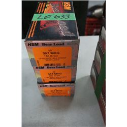 3 Boxes of 50 Factory HSM Bear Load, 357 Magnum, 180 gr., Lead RNFP Gas Check