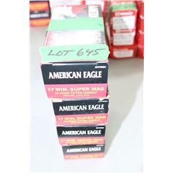 200 Rnds of Factory American Eagle, 17 Win Super Mag, 20 gr., Varmit