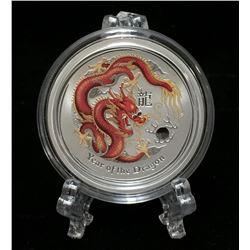 2012 Australia 1/2oz Year of the Dragon Colourized Silver BU Coin