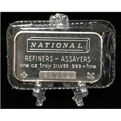 National Refiners-Assayers Mint Canada 1oz Vintage Silver Bar (Sealed)