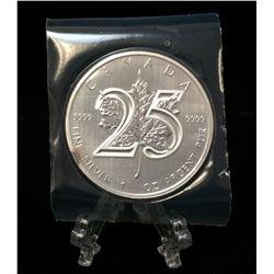 2013 Canada 1oz Silver Maple Leaf 25th Ann. Silver BU Coin (FlexSeal)