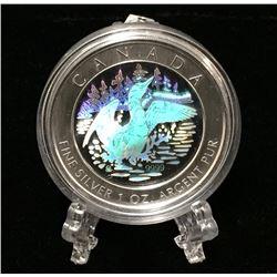 2002 Canada 1oz Hologram Anniversary Loon Silver Coin