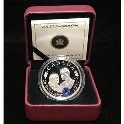 2011 Canada $20 Prince William Miss Catherine Royal Wedding Swarovski Element Proof Silver Coin
