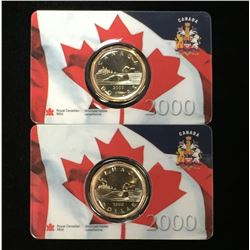 Lot of 2x 2000 Canada $1 Loonie Millennium Assay Window Card