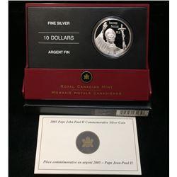 2005 Canada $10 Pope John Paul II Commemorative Silver Proof Coin