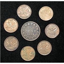 1886-1957 Canada 1-Cent Large Cent, Copper Pennies (7 pcs)