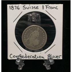 1876-B Switzerland 1 Franc Helvetia Silver Coin